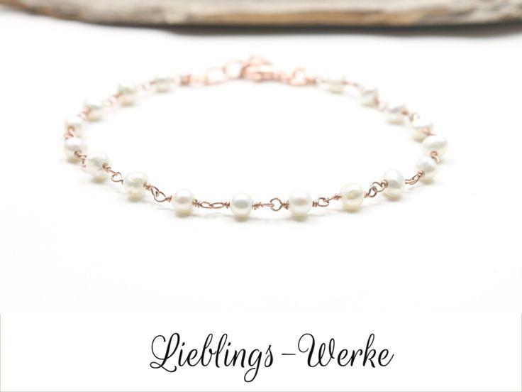 Perlenarmbänder - Zart&edel: Roségold Armband mit Süßwasserpe... - ein Designerstück von Lieblings-Werke bei DaWanda