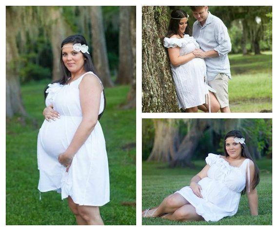 Large Bust Maternity Dress Ivory or White Photo Plus Size Ruffled Below Knees Patisserie Handmade Custom Womens