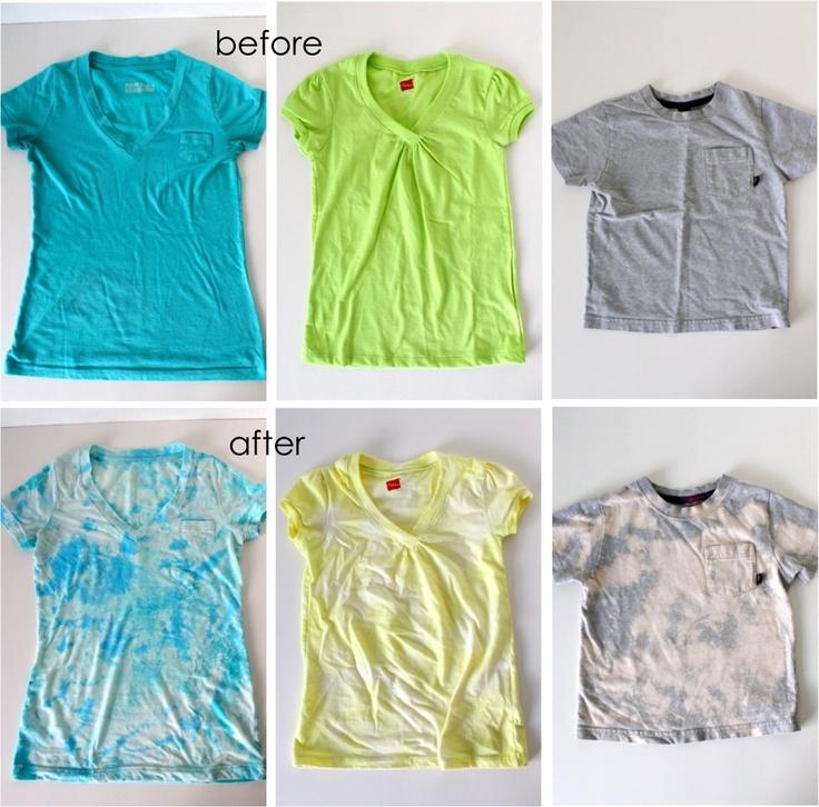 MADE: acid wash tees: Diy Ideas, Tutorials, Crafts Ideas, Bleach Shirts, Ties Dyes, Wash Tees, Acid Wash Diy, Diy Acid Wash, Bleach T Shirts