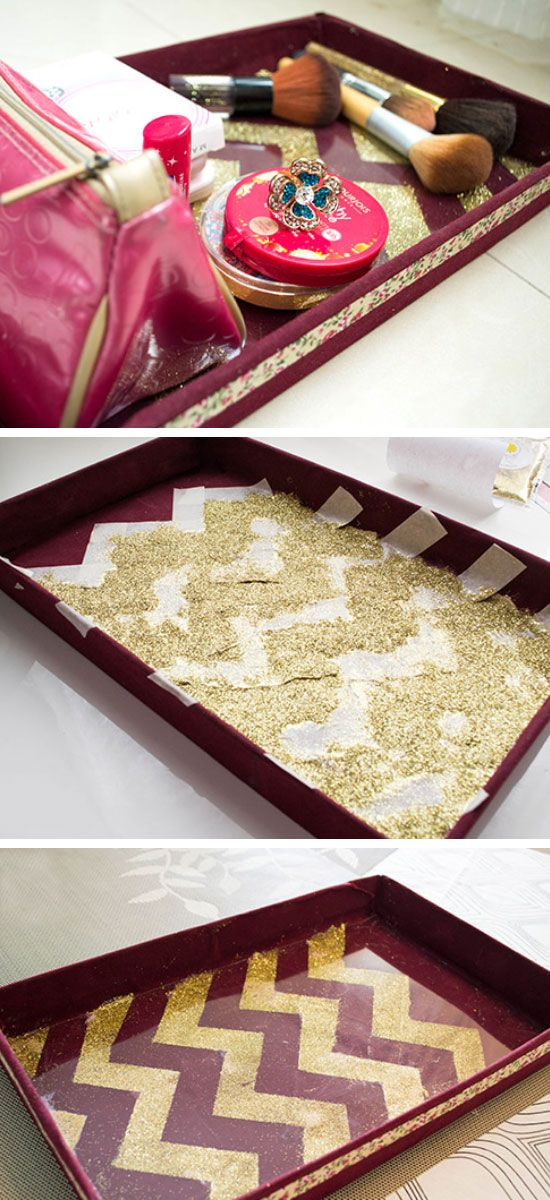 DIY Chevron Glitter Vanity Tray | Click Pic for 18 DIY Makeup Storage Ideas for Small Bedrooms | Easy Organization Ideas for the Home