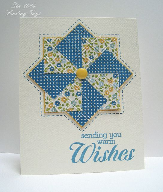 handmade quilt card: Pinwheel pattern by quilterlin, via Flickr ... blue, yellow, white ... luv the way she put stitching lines around the pinwheel for a finished look ... pretty card!!