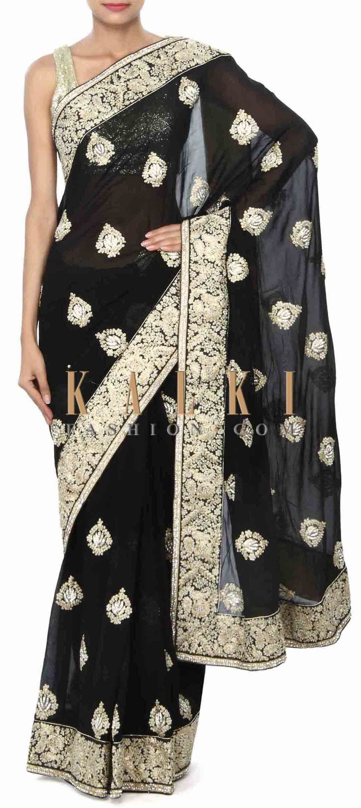 Buy Online from the link below. We ship worldwide (Free Shipping over US$100) Price- $279 Click Anywhere to Tag http://www.kalkifashion.com/black-saree-enhanced-in-pearl-embroidered-butti-only-on-kalki.html