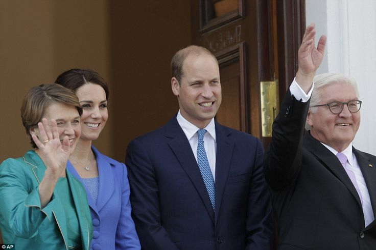 The German President and his wife wave to wellwishers alongside a smiling William and Kate...