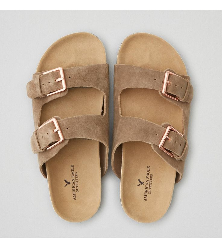 Taupe AEO Double Buckle Sandal