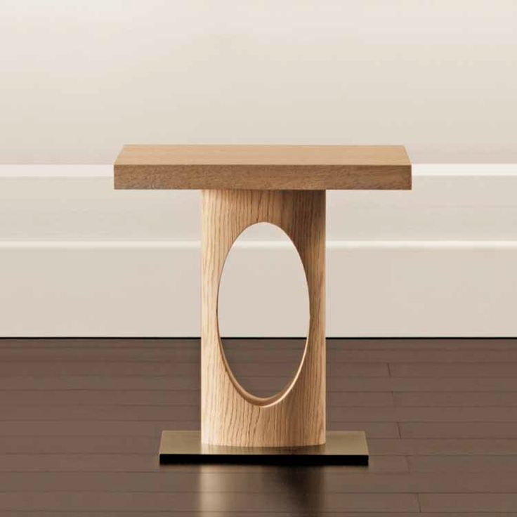 Moon Side Table With Top And Structure In Solid Light Oak Or Beech, Base In Amazing Ideas