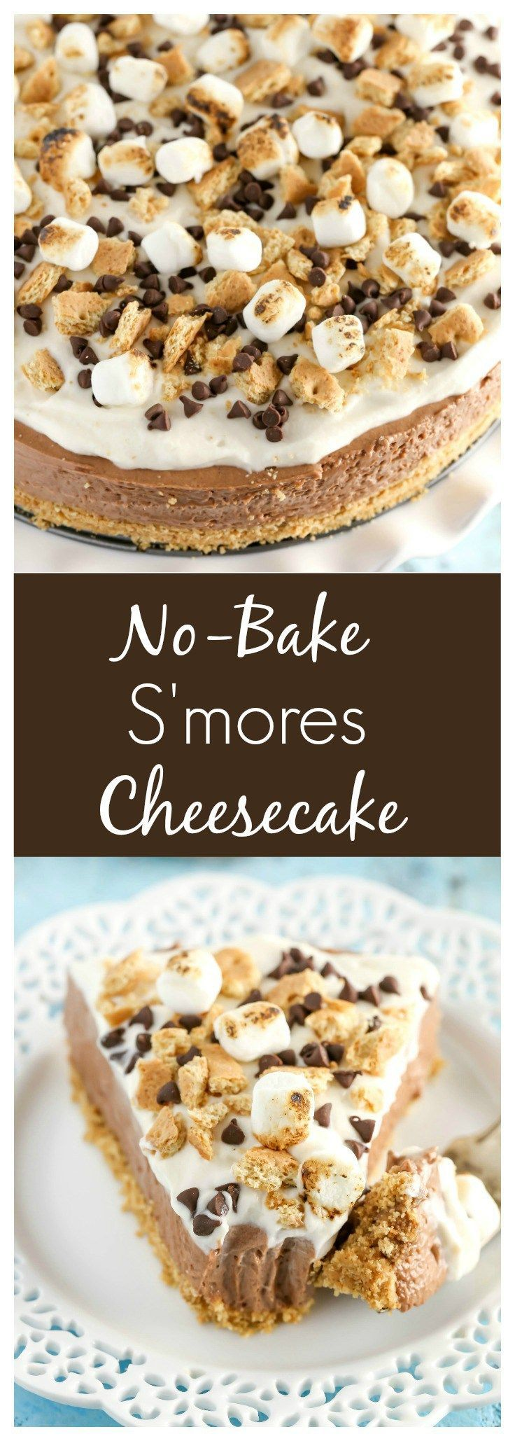 A homemade graham cracker crust topped with a no-bake chocolate cheesecake filling and marshmallow fluff whipped cream. This No-Bake S'mores Cheesecake is the ultimate summer dessert!