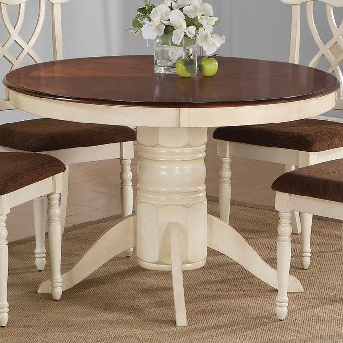 pedestal dining table in buttermilk with a dark surface product dining material woodcolor buttermilk and dark - Dining Tables For Small Spaces