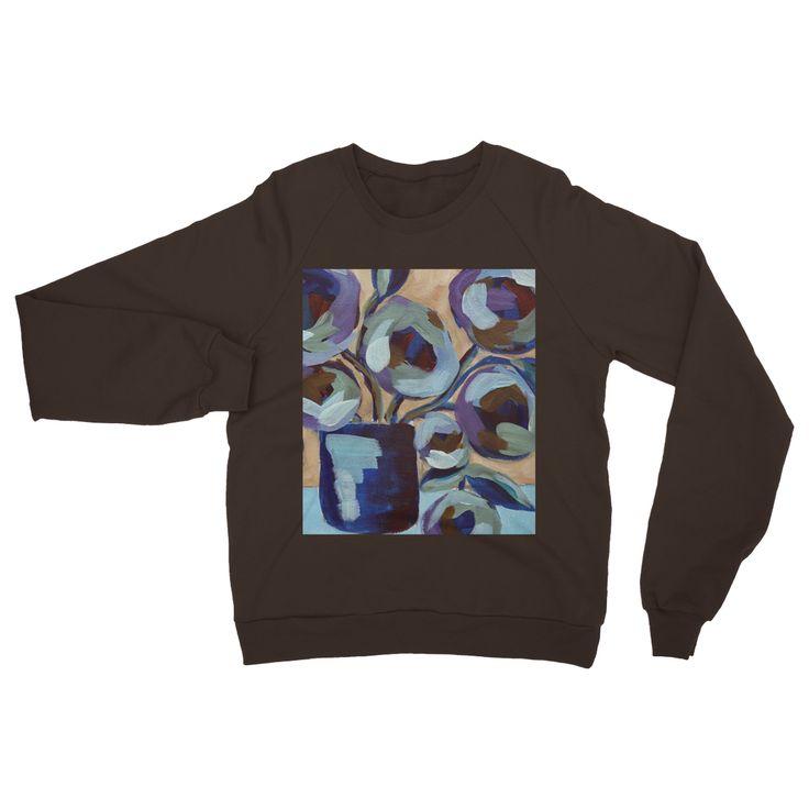 """Blue Abstract Floral"" Heavy Blend Crew Neck Sweatshirt"
