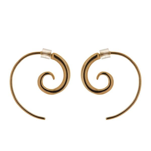 "Spiral 9ct Gold Plated Small - These popular 9ct Gold Plated spiral earrings come in three sizes (sold separately) with a rubber earring back to hold them in place. Remember the Stone Arrow Motto ""you can never have too many spirals!"" Also available in Sterling Silver. Hook length curve: 35mm or 1.4 inches (approx).  Spiral diameter: 9mm or .36 inches."