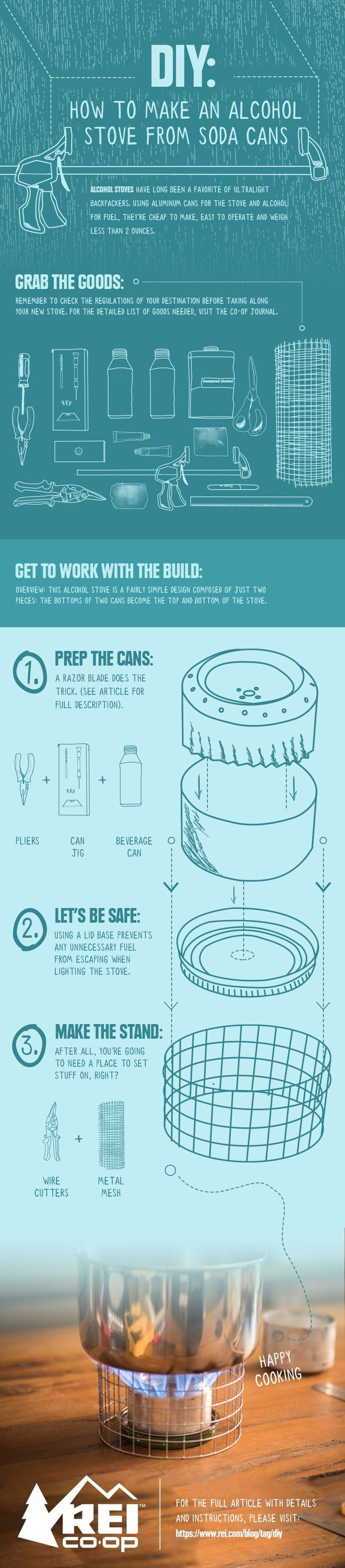 Alcohol stoves have long been a favorite of ultralight backpackers. Using aluminum cans for the stove and alcohol for fuel, they're cheap to make, easy to operate and weigh less than 2 ounces. Visit the Co-op Journal for a step-by-step guide.