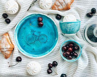 Placa de bicicleta dulce placa azul, accesorios bicicletas, ollas de cerámica, platos de cerámica, placas de cerámica, platos de gres, vajillas, turquesa
