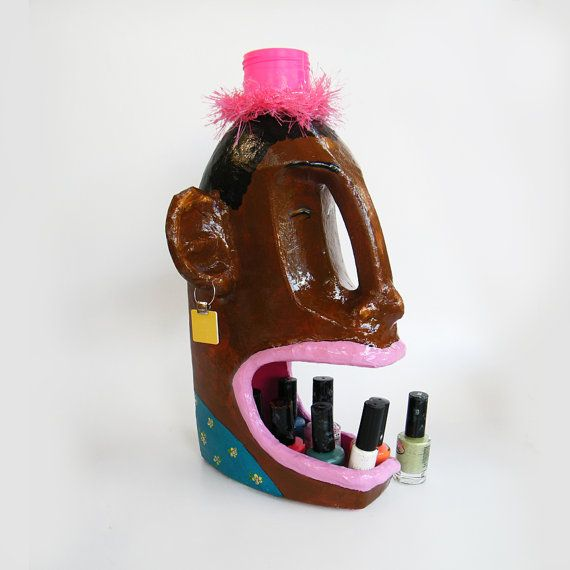 Nail polish organizer, nail polish holder, Upcycled stand, Brown turquise yawning woman, Christmas gift, Sale