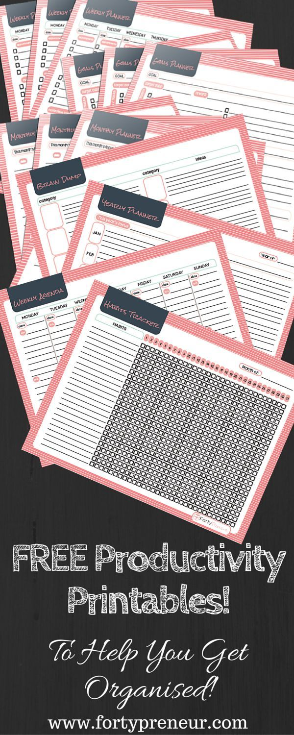 FREE Productivity Planners Printables, For All Those Procrastinators! Yours to download for FREE! Here is something refreshing....these free planners are not in exchange for your email address, simply download, print..and use! I hope you love them and I hope you use them to.... Get Inspired, Get Focused & Get Shh Done!