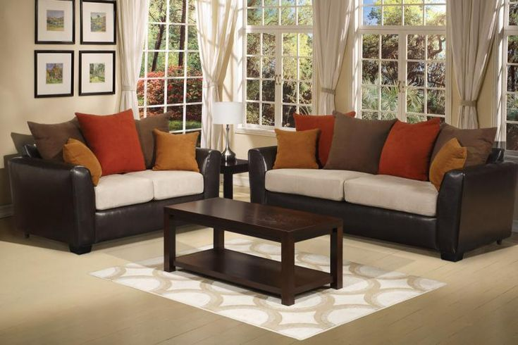 Living Room With Brown Couch Orange