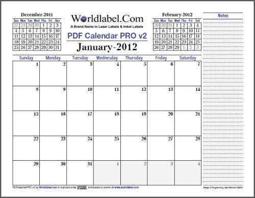 fillable calendar