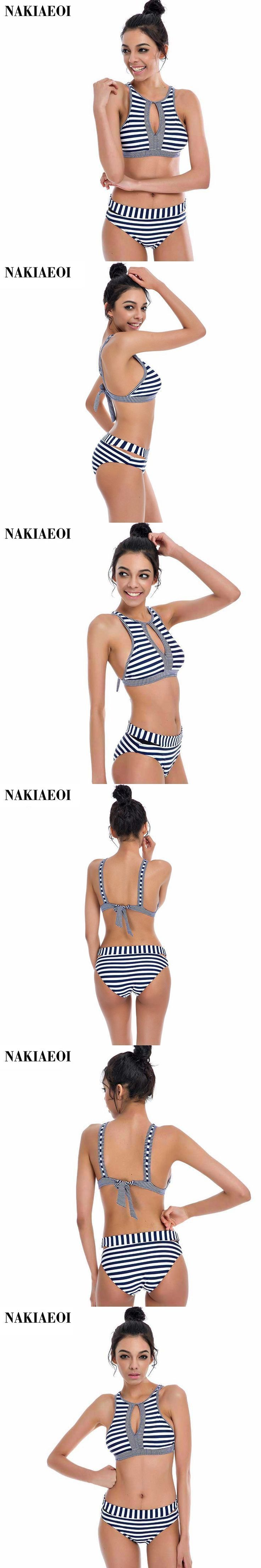 New Vintage High Waist Swimwear Stripe Pattern High Neck Women Swimsuit B ……  – Praktische Informationen