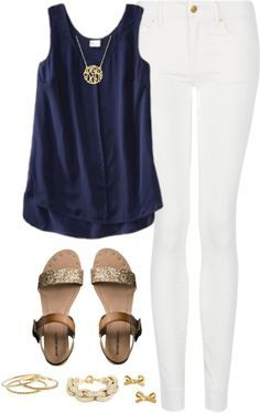 Navy sleeveless shirt with white jeans - cute