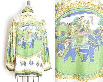 des années 90 en soie, chemise, top vintage des années 90, haut imprimé foulard, chemise des 90 s, impression papier, éléphant, Indiens impression soie, le chemisier, des années 90, vêtements, blanc bleu