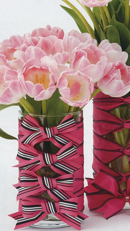 LOVE GLASS CYLINDERS.  YOU CAN WRAP THEM WITH RIBBON, FABRIC, BURLAP OR LACE...., PAINT THE INSIDE TO LOOK LIKE MERCURY GLASS.  COVER THEM WITH MOSS OR TREE BARK, ETC, ETC, ETC.  FILL THEM WITH SEASONAL STUFF, FLOAT A FLOWER INSIDE OR A CANDLE.