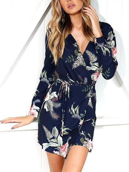 33e06ced043 Navy Slit Design Random Floral Print V-neck Long Sleeves Wrap Dress ...