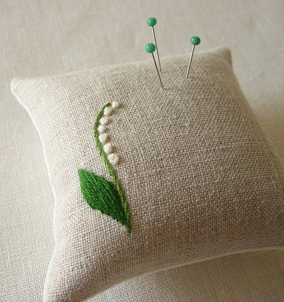 sweet embroidered pin cushion