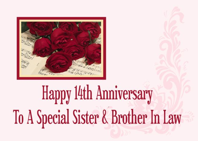 Sister And Brother In Law 14th Anniversary Card With Images
