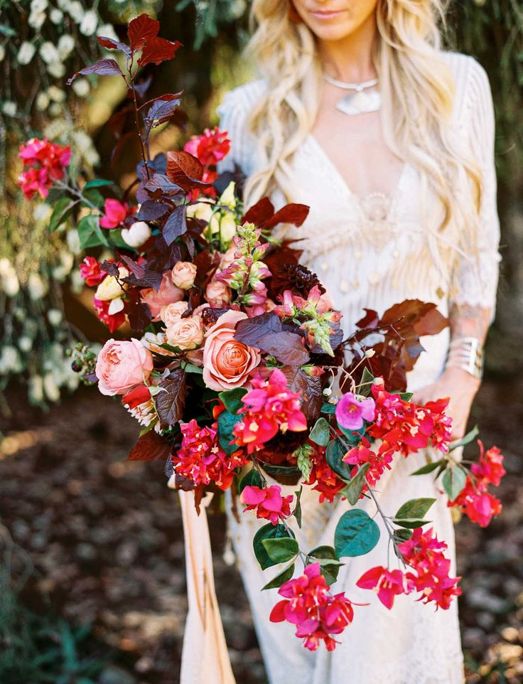 Unstructured rose and bougainvillea bouquet