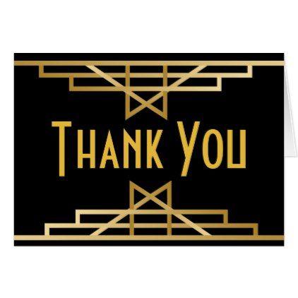 Great Gatsby Thank You Black Gold Art Deco Wedding Card - elegant wedding gifts diy accessories ideas