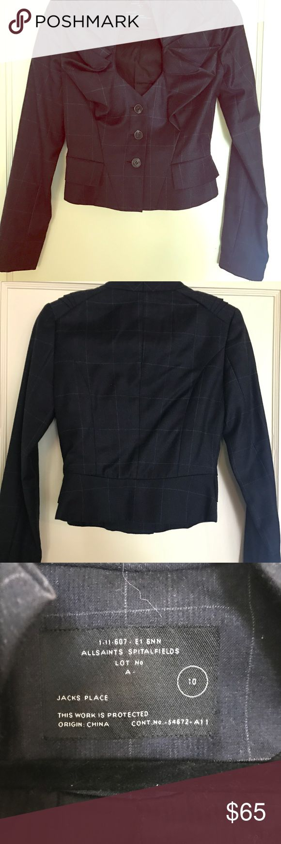 All saints blazer with ruffled collar plaid M-L This beautiful allsaints blazer is one of my fav items, but I've lost some weight and can no longer fill it out. I'd say it will fit a 6-8 because it runs a bit small. It's been worn only twice so there's no damage. It's perfect for work with black high waisted pants with wide legs or even a nice pencil skirt. Can be made more edgy with some jeans. All Saints Jackets & Coats Blazers