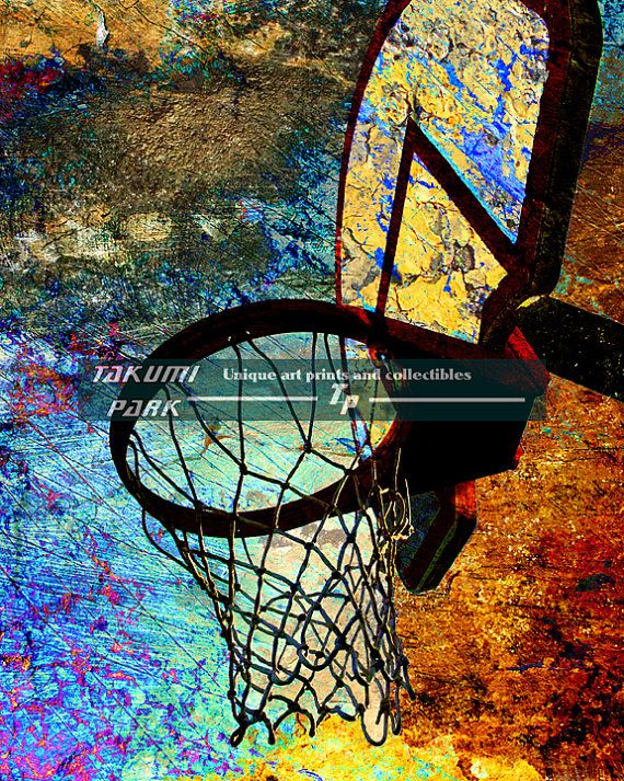 Looking for some different and unique basketball art? This modern basketball art is a photo print and can be found on Takumi Park. The colorful basketball artwork is available in different sizes. Custom sizes of the basketball print are also available. $15.88 and up.