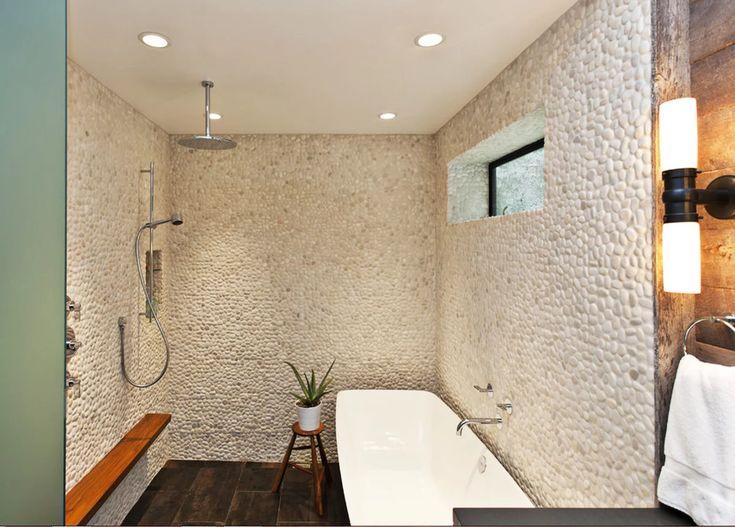 Натуральный камень в интерьере квартиры или загородного дома. Примеры декоративной отделки стен галечником и крупным окатышем. Такой необычный декор наи... - Магазин проектов Shop-project - Google+