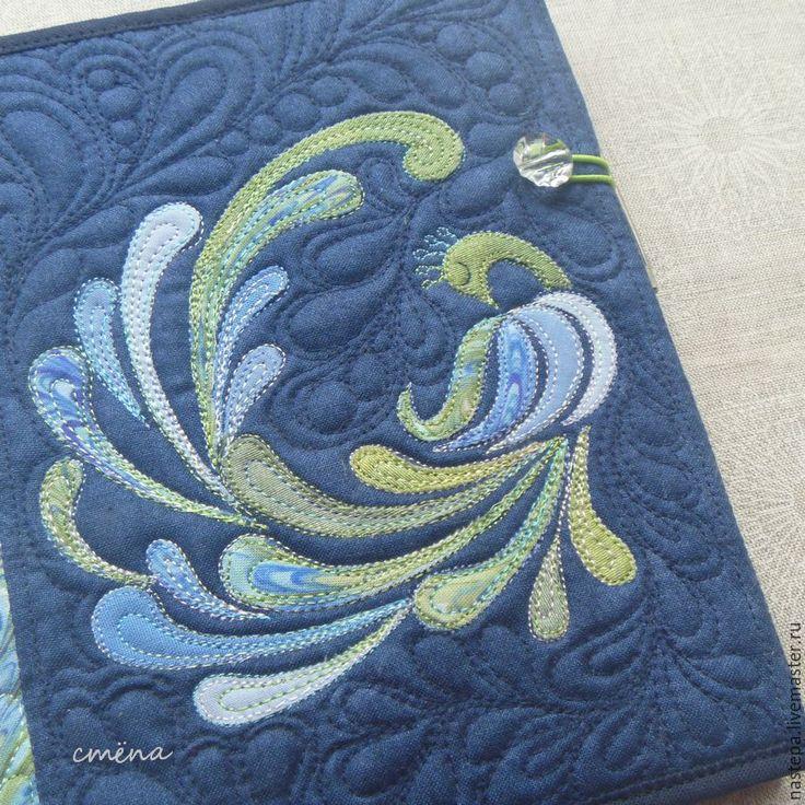 """Купить Обложка на ежедневник, блокнот """"Птица счастья"""" - тёмно-синий, зеленый, травянистый, салатовый цвет"""