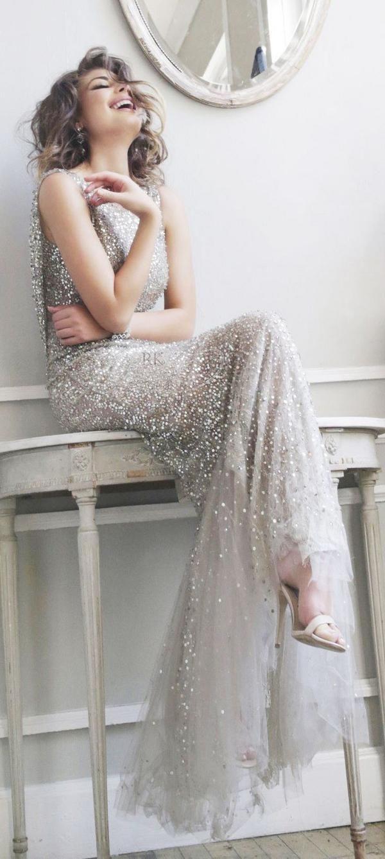 silver wedding dress / http://www.deerpearlflowers.com/50-silver-winter-wedding-ideas-for-your-big-day/