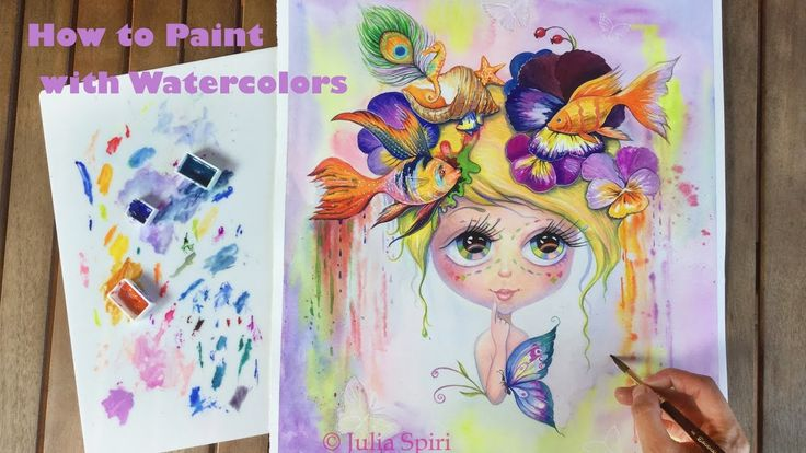 HOW TO PAINT WITH WATERCOLORS.  🌸 Whimsy 🐠 Speed Painting, Tutorial