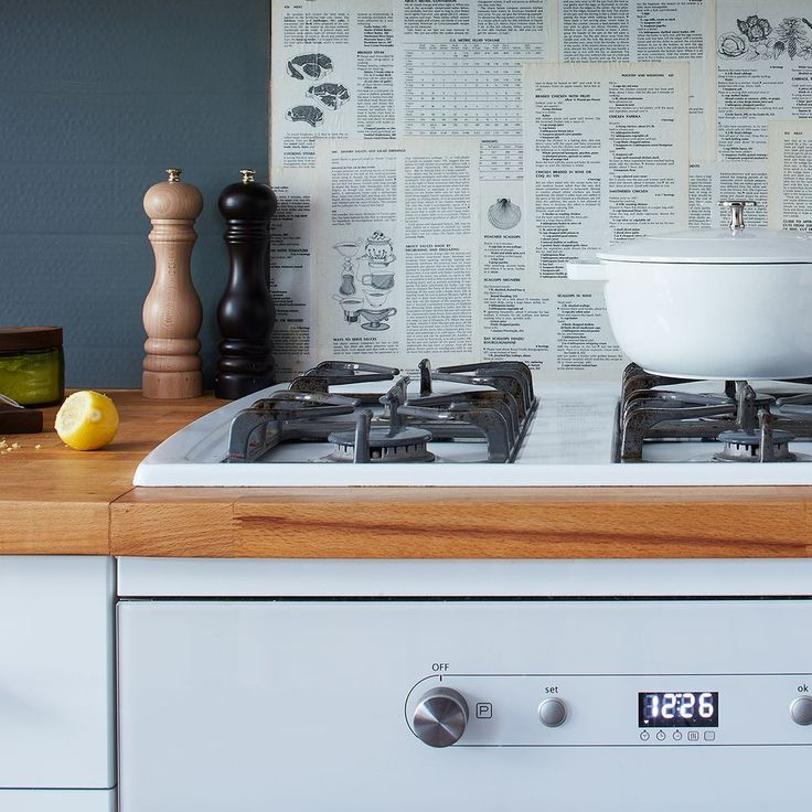 Love the blue walls & the removable backsplash - From Food 52 - Where we'