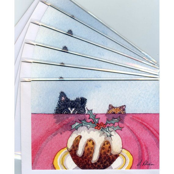 'Are you thinking what I'm thinking?' - 6 x Border Collie dog Christmas holiday cards ginger cat