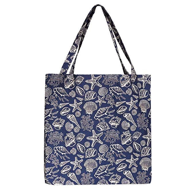 f63d58a86f88 Signare Tapestry Women Fabric Reusable Foldable Shopping Bag Navy ...