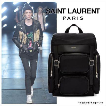 ●Saint Laurent Hunting ブラック レザートリム バックパック サンローラン 2016-2017 ファッション