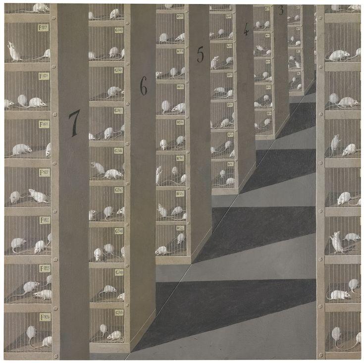 Domenico Gnoli: White mice in cages
