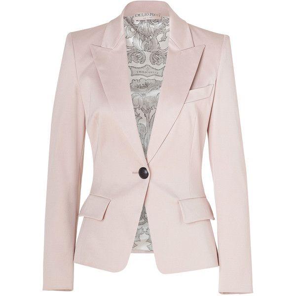 EMILIO PUCCI Blush One Button Stretch Cotton Blazer ($2,210) ❤ liked on Polyvore