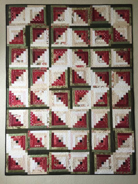 Log Cabin Quilt Patterns PDF Christmas Quilt Pattern Easy Quilt Patterns Beginner Quilt Pattern Watermelon Quilt