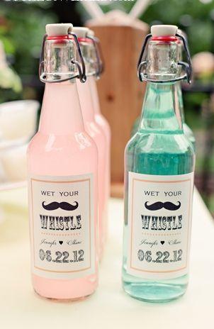So adorable! Vintage bottles and labels for refreshments #wedding #vintage #vintagewedding #weddingfavors #diywedding