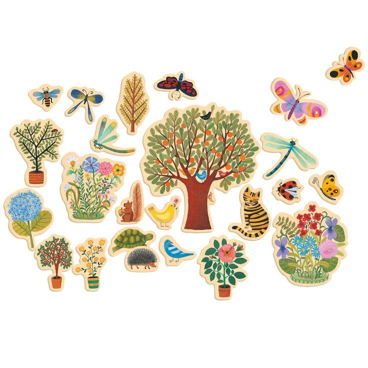 Djeco Wooden Magnet Set Poetic Garden $32.95