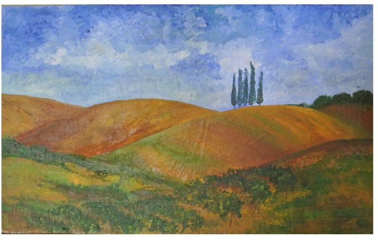 """""""Colline toscane"""" ... realizzato con collage, colori a olio su legno"""
