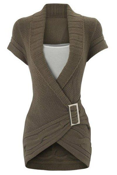 Noble Solid Color Shawl Collar Short Sleeve Buckled Sweater Dress For Women (SAGE GREEN,S) | Sammydress.com