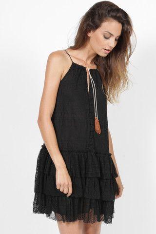 MISA DELFINE BLACK RUFFLE SKIRT DRESS