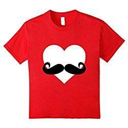 Kids Heart Mustache Tshirt Funny Valentine Day Boys Men Love Cute 8 Red