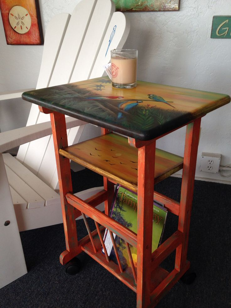 tropical painted furniture. hand painted tropical art table macaws on palms trees a little furniture o