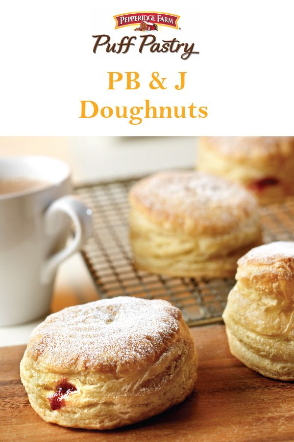 Puff Pastry PB&J Doughnuts Recipe. Don't bother waiting in line overnight to get a specialty doughnut; you can make this cool, flaky version right at home! This simple dessert recipe showcases a sophisticated spin on doughnuts using golden Puff Pastry filled with creamy peanut butter and raspberry jam. Also see the instructions for flavor variations to make Peanut Butter & Chocolate Chip Doughnuts and Raspberry & White Chocolate Chip Doughnuts. Wake mom up with these on Mother's Day!