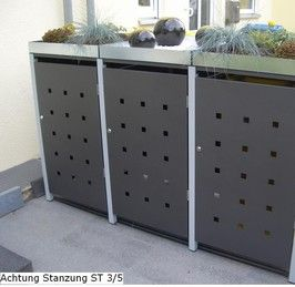 4er Mülltonnenbox 240L mit Pflanzdach